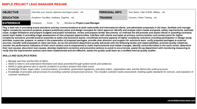 Project Lead Manager Resume Template (#30037)