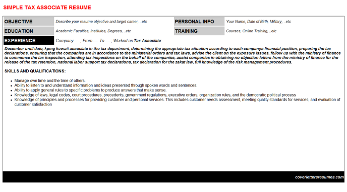 Tax Associate Resume Template 22879