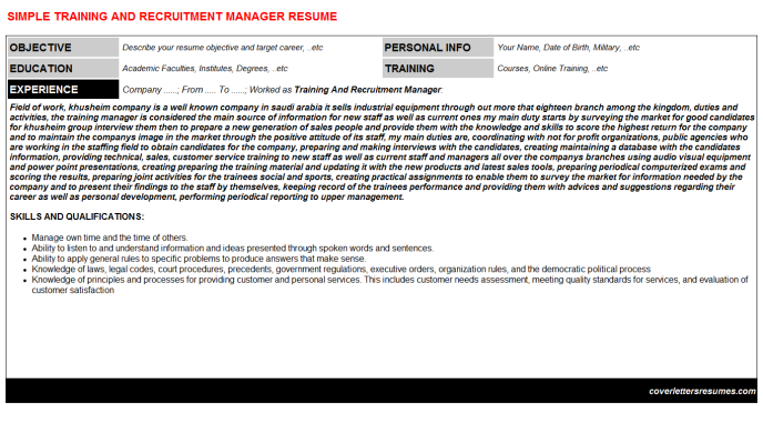 Training And Recruitment Manager Resume Template