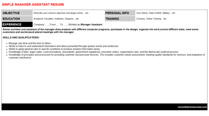 Manager Assistant Resume Template (#380)