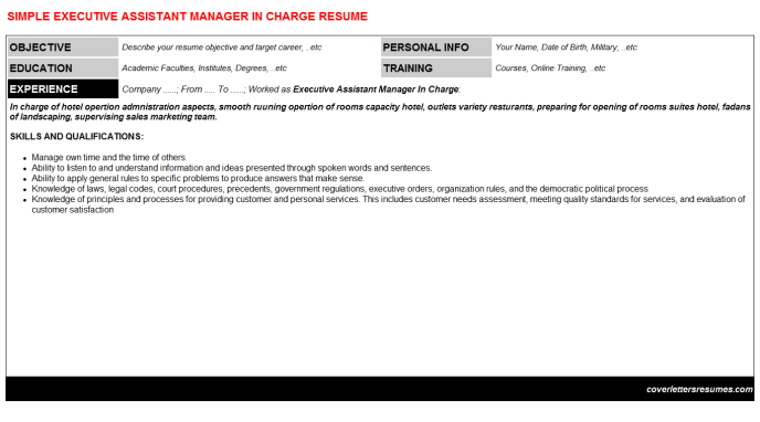 Executive Assistant Manager In Charge Resume