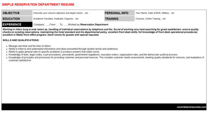 Reservation Department Resume Template