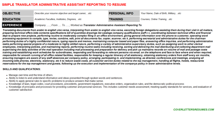 Translator Administrative Assistant Reporting To Resume Template