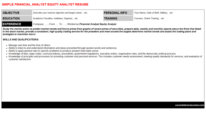 Financial Analyst Equity Analyst CV Cover Letter & Resume ...