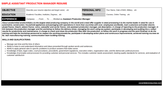 Assistant Production Manager Resume Template (#48883)