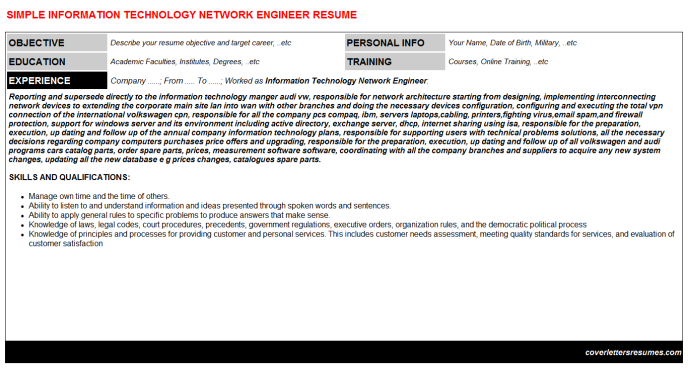 Information Technology Network Engineer Resume Template