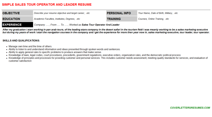 Sales Tour Operator And Leader Resume Template (#4885)