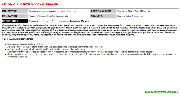 Operations Manager Resume Template (#16038)