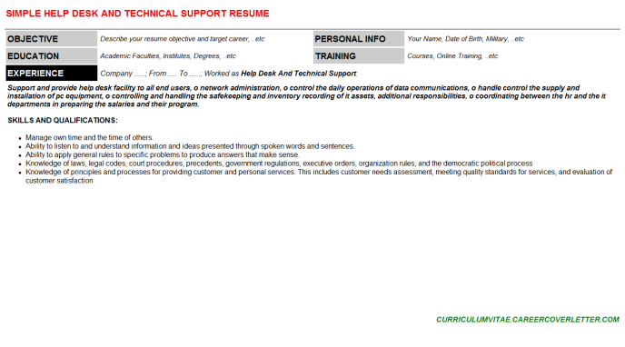 Help Desk And Technical Support Resume Template