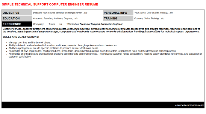 Technical Support Computer Engineer Resume Template