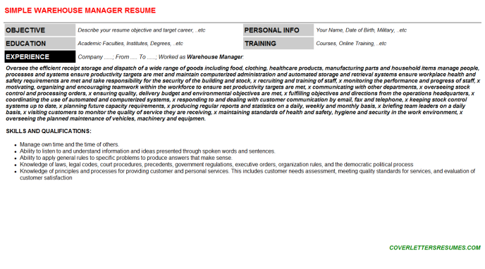 Warehouse Manager CV Cover Letter & Resume Template (#123389)