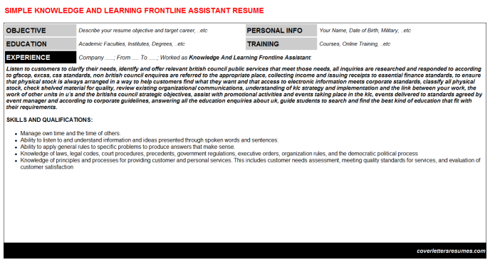 Knowledge And Learning Frontline Assistant Resume Template
