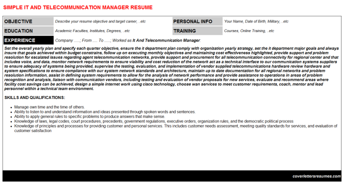 IT And Telecommunication Manager CV Cover Letter & Resume ...