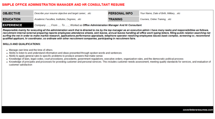 Office Administration Manager And Hr Consultant Resume Template