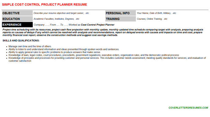 Cost Control Project Planner Job Letter & Resume (#112892)