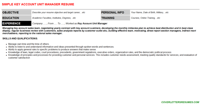 Key Account Unit Manager Resume Template