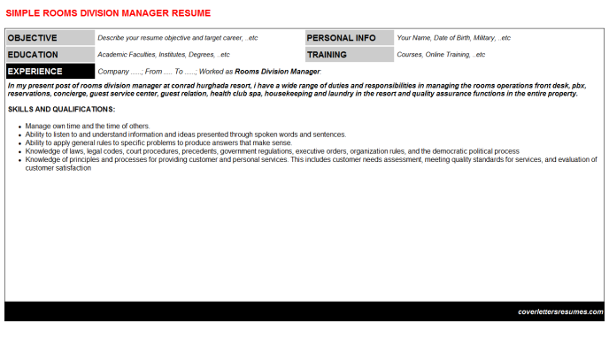 Rooms Division Manager Resume Template