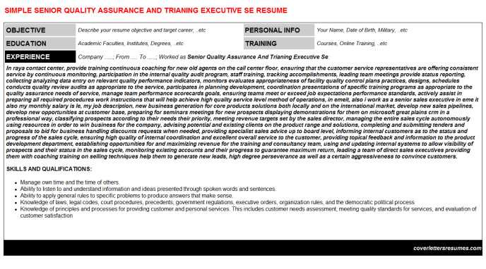 Senior Quality Assurance And Trianing Executive Se Resume Template (#396)