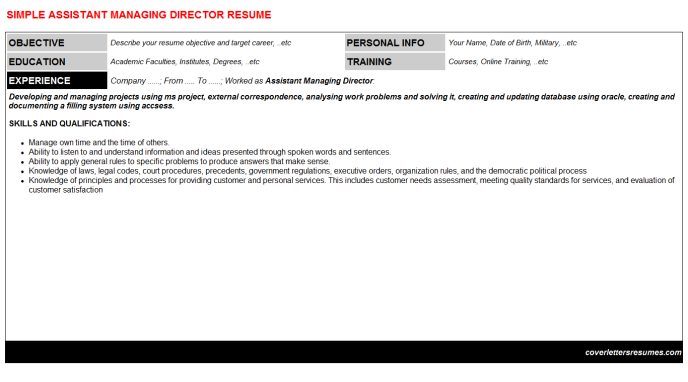 Assistant Managing Director Resume Template