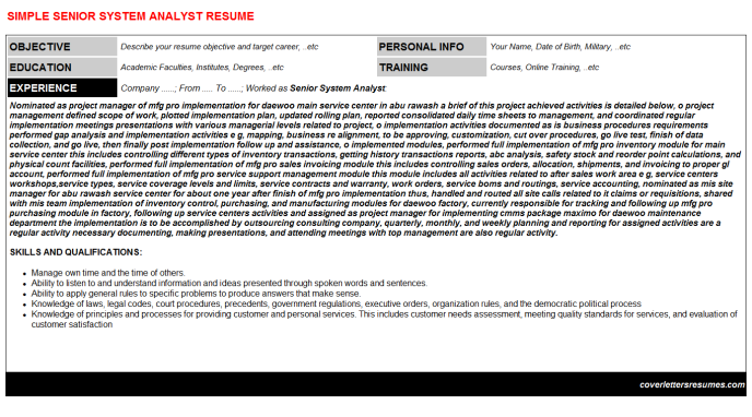 Senior System Analyst Resume Template (#397)