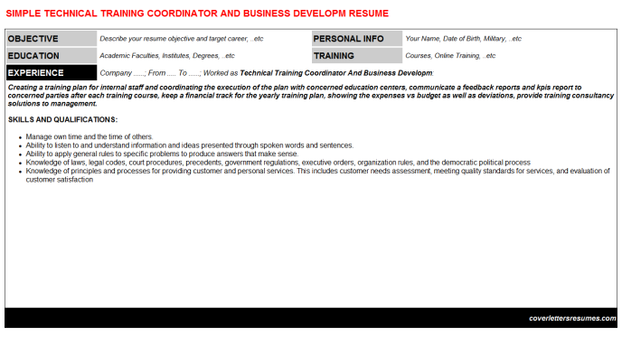 Technical Training Coordinator And Business Developm Resume Template (#38397)