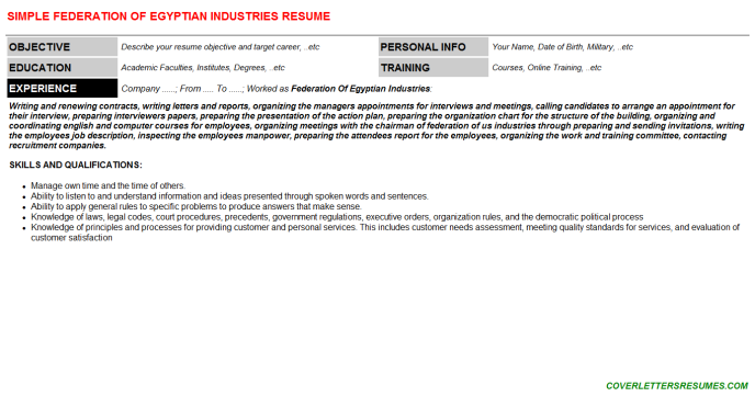 Federation Of Egyptian Industries Resume Template