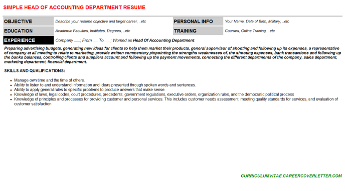 Head Of Accounting Department Resume Template