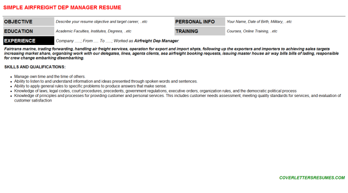 Airfreight Dep Manager CV Cover Letter & Resume Template ...