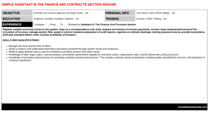 Assistant In The Finance And Contracts Section Resume Template (#539)