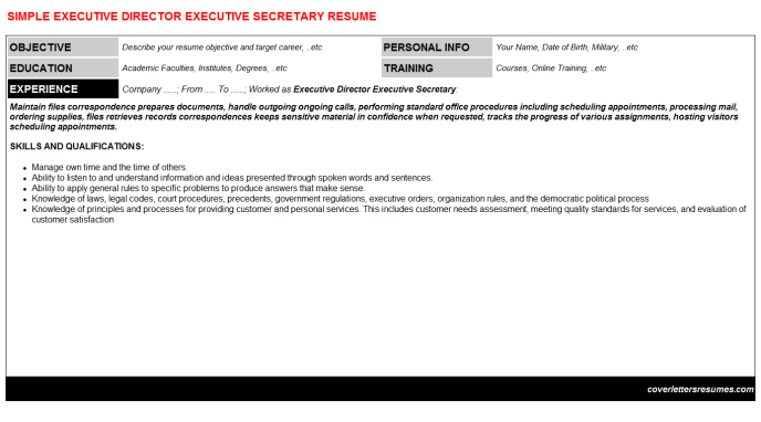 Executive Director Executive Secretary Resume Template (#1539)