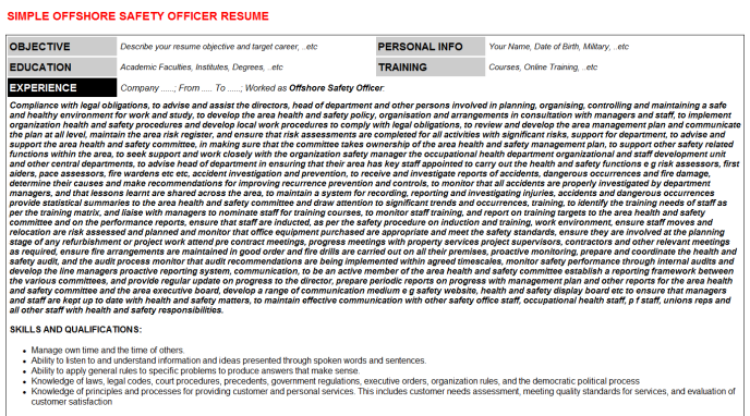 Offshore Safety Officer Resume Template