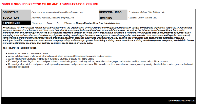 Group Director Of Hr And Administration Resume Template (#399)