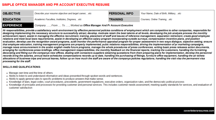 Office Manager And Pr Account Executive Resume Template (#1900)