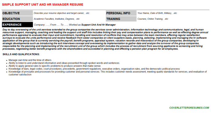 Support Unit And Hr Manager Resume Template (#25400)