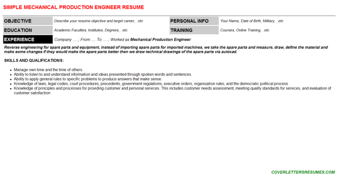 Mechanical Production Engineer Resume Template