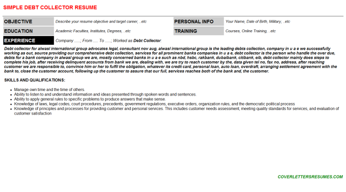 Debt Collector CV Cover Letter & Resume Template