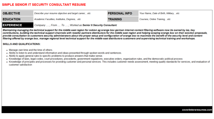 Senior IT Security Consultant CV Cover Letter & Resume Template