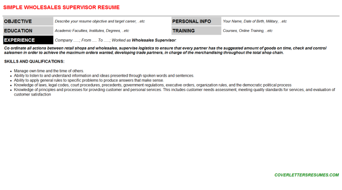 Wholesales Supervisor Resume Template (#120403)