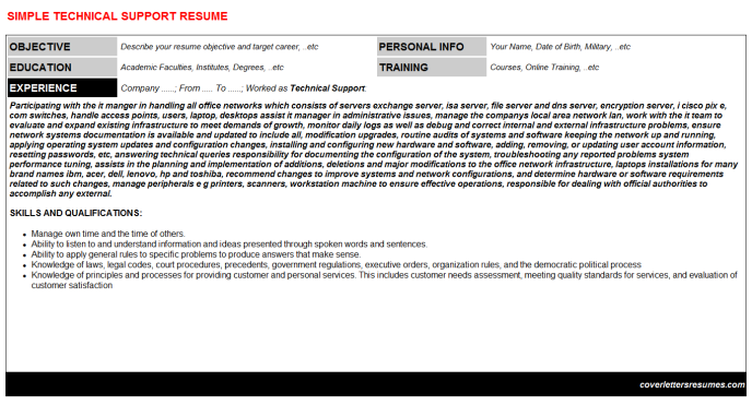 Technical Support Resume Template