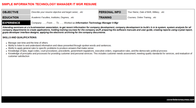 Information Technology Manager It Mgr Resume Template (#404)