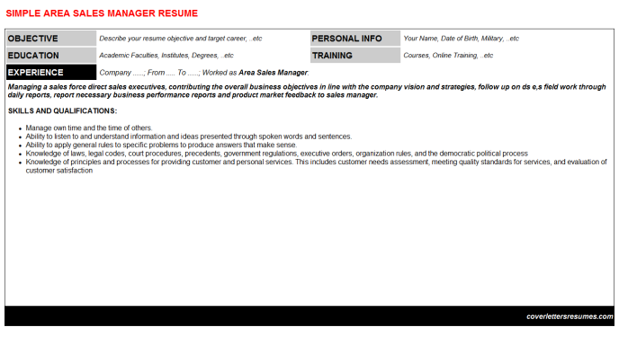 Area Sales Manager Resume Template (#406)