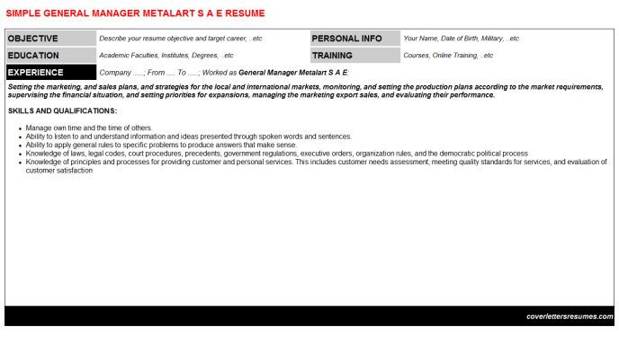 General Manager Metalart S A E Resume Template