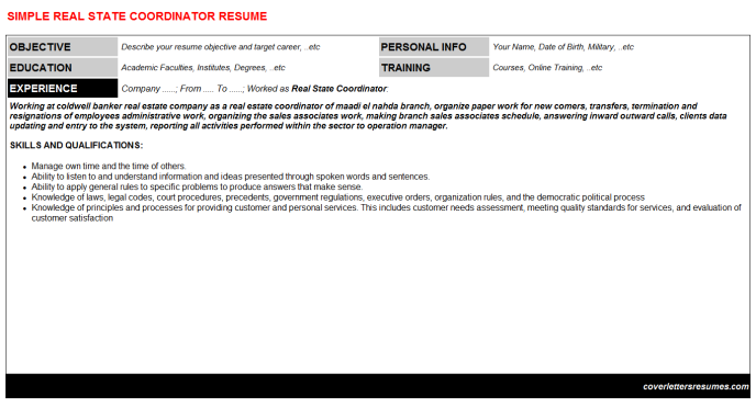 Real State Coordinator Resume Template