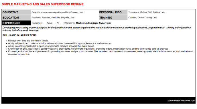 Marketing And Sales Supervisor Resume Template (#408)