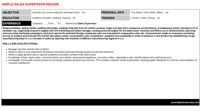 Sales Supervisor Resume Template (#909)