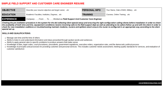 Field Support And Customer Care Engineer Resume