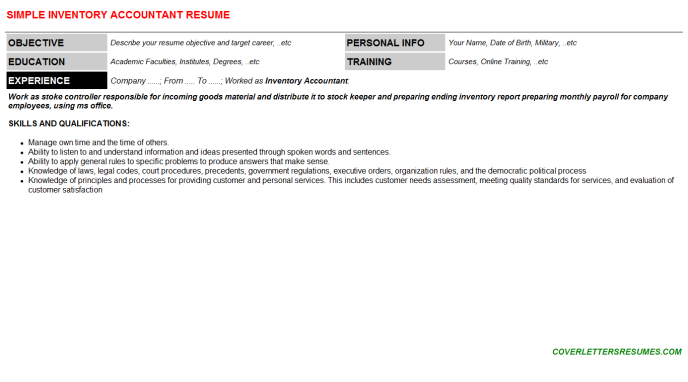 Inventory Accountant CV Cover Letter & Resume Template (#92411)