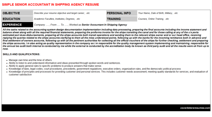 Senior Accountant In Shipping Agency Resume Template (#3413)