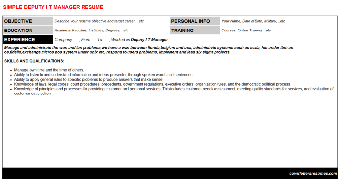 Deputy I T Manager Resume Template