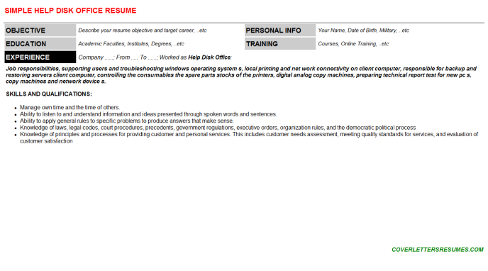 Help Disk Office Resume Template (#108414)